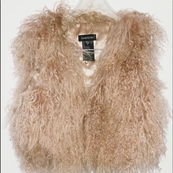 bebe Tops - Bebe 💯 % Lamb Fur Vest Size XS